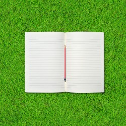 Blank notebook and pencil on Green Grass background.