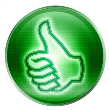 thumb up icon green, isolated on white background