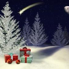 verschneite Tannen mit Weihnachtsgeschenken