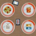 4 Teller und 2 Smartphones