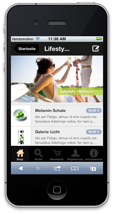 Ein Beispiel-Template für einen Mobile Shop