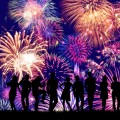 花火と群衆