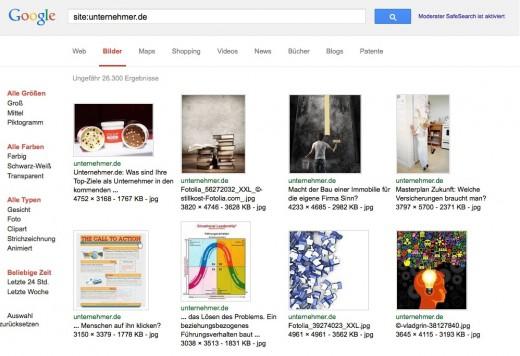 Google Bilder suche: Alle indexierten Bilder Ihrer Website