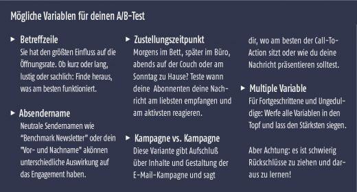 Mögliche Variablen für deinen A/B-Test