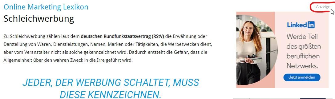 Kennzeichnung einer Werbeanzeige auf unternehmer.de