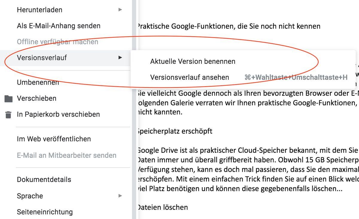 Google Funktionen: Google Tabellen: Verlaufshistorie