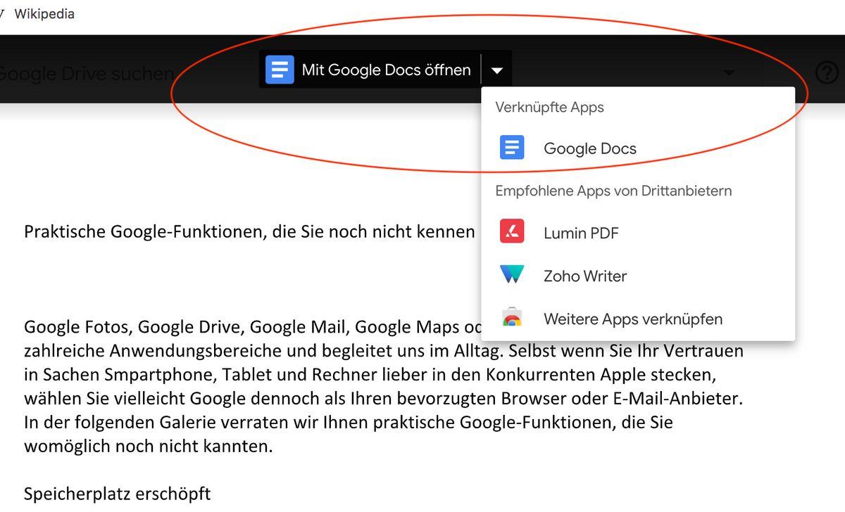 Funktionen: Google Docs