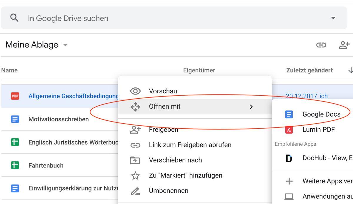 Google Funktionen: PDF: Google Docs