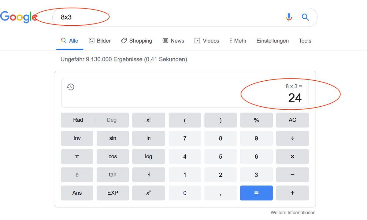 Google Funktionen: Taschenrechner