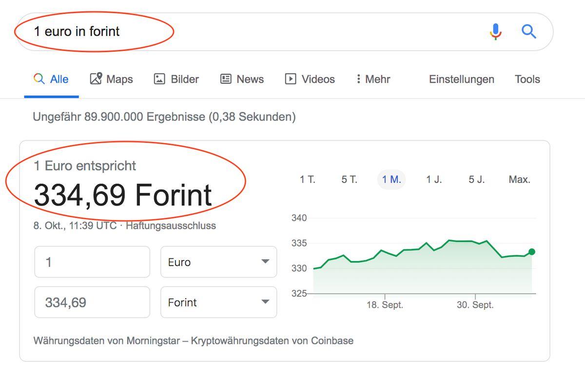 Google Funktionen: Währungen umrechnen