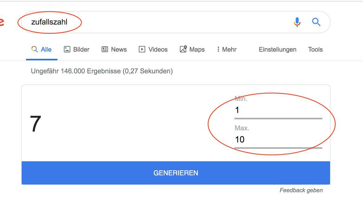 Google Funktionen: Zufallszahl