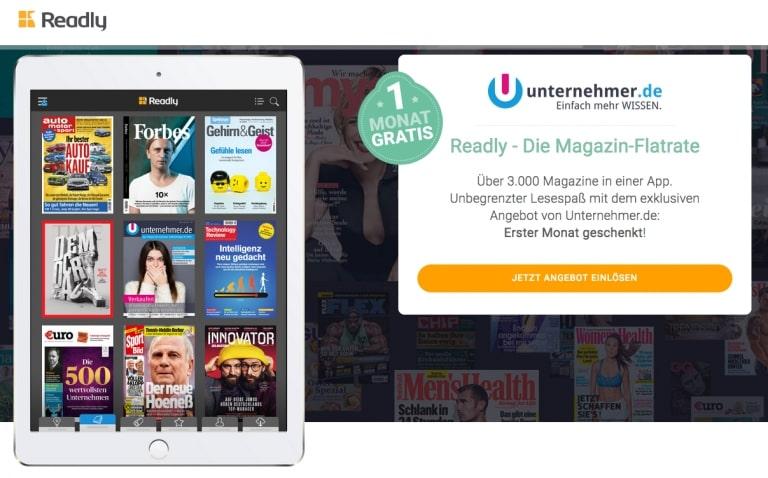 Readly gratis testen über unternehmer.de